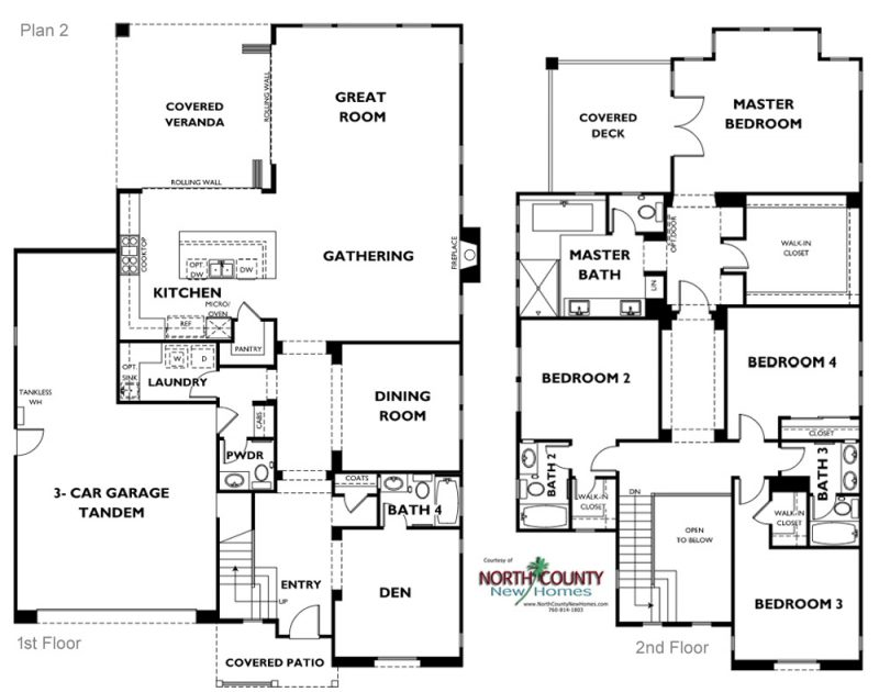 New single famaily homes in Carlsbad at Lanai II. One and two story homes for sale. New construction homes in San Diego North County. Floor Plans. Plan 2
