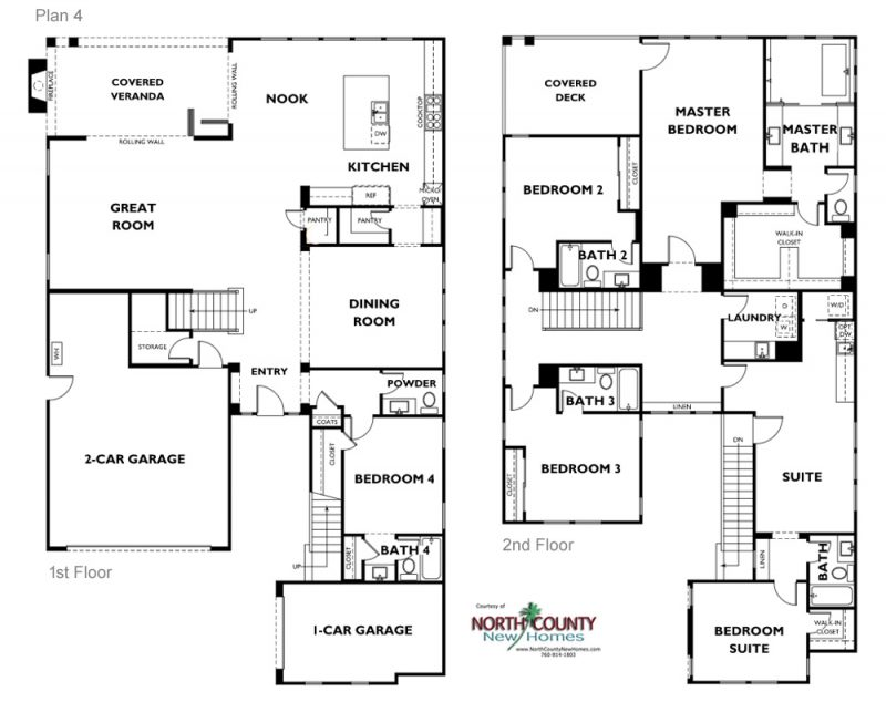 New single family homes in Carlsbad at Lanai II. One and two story homes for sale. New construction homes in San Diego North County. Floor Plans. Plan 4