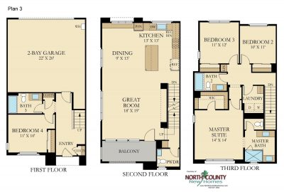 New homes in Vista CA. 47 new 3 level homes. New construction in San Diego North County. Floor Plans