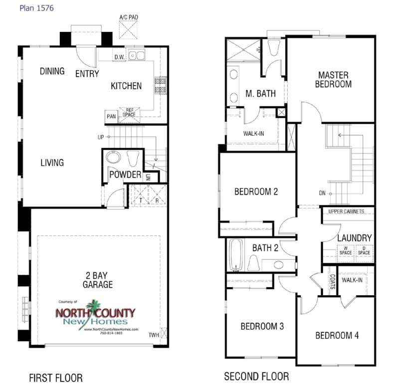 Floor plans for new homes townhomes & condos in Vista, CA at Skyline. New construction homes for sale in North County San Diego. 2 & 3 story townhomes.