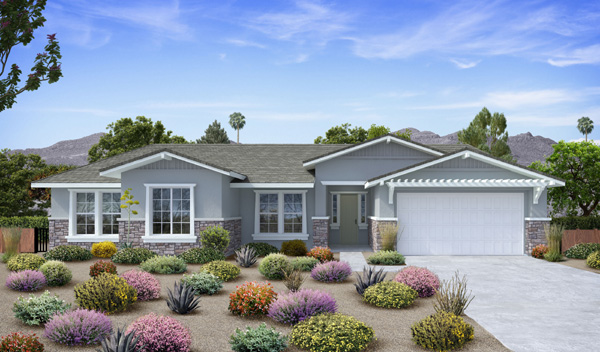 Vale View Estates new homes in Vista, CA. Single story new homes for sale. 2 floor plans for new construction homes. See all new homes now selling and coming soon in North County San Diego. Plan 1 exterior.