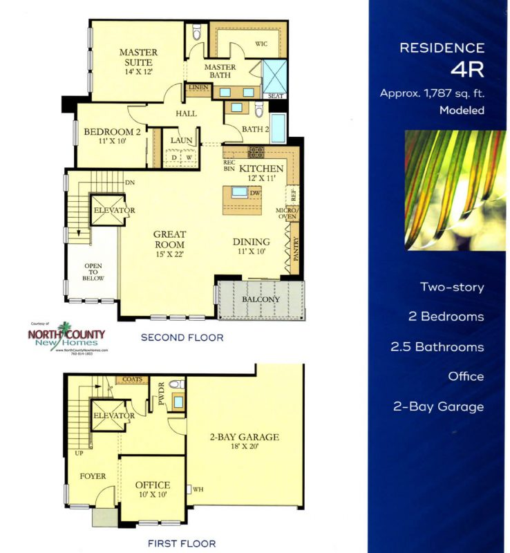Avante floor plans. New attached homes in Del Sur. 55+ age restricted community. New construction homes in San Diego and North County. One and two story homes with elevators. Gated community. 2-story homes with elevators.