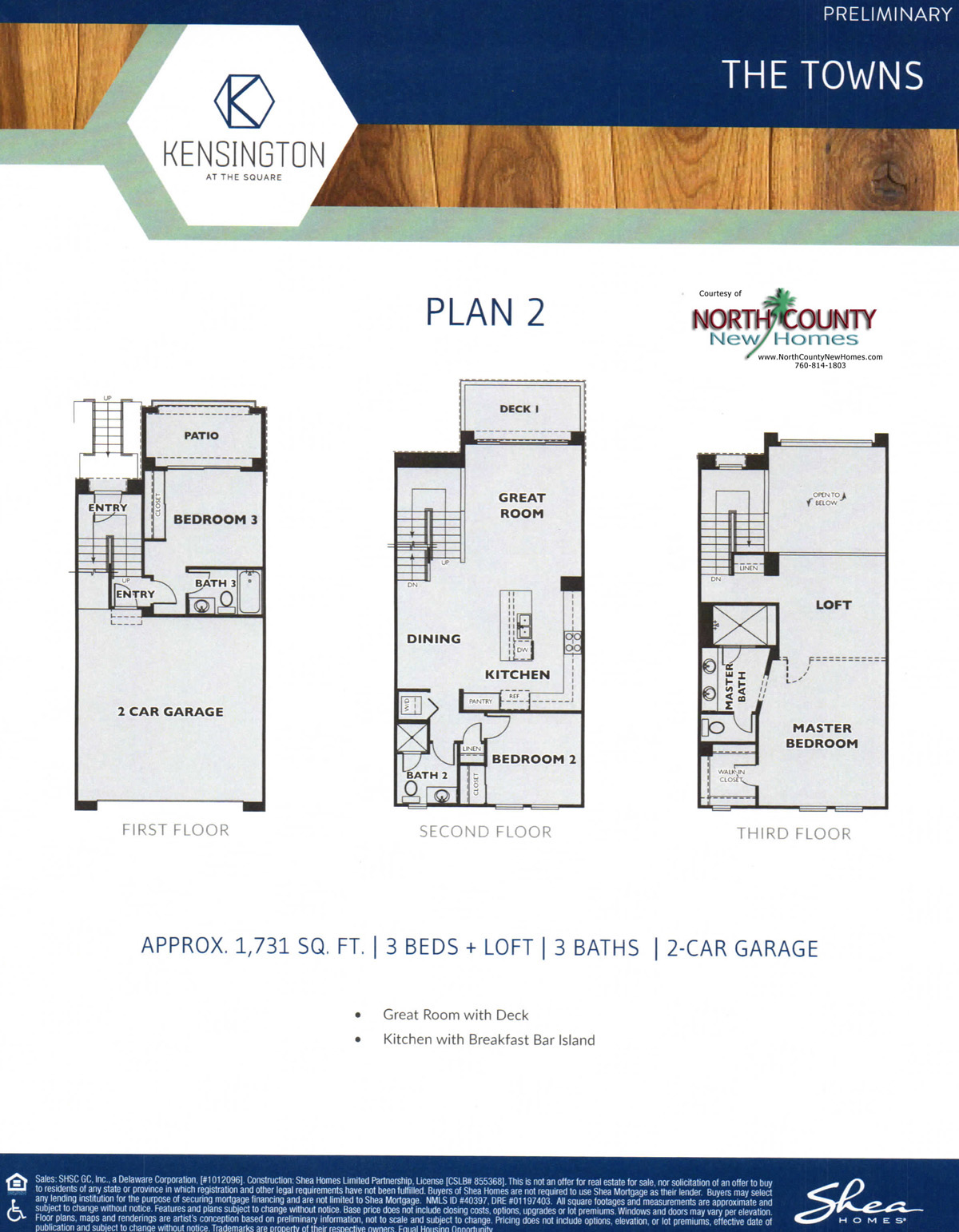 Kensington at The Square floor plans. New townhomes in Carlsbad, California at Bressi Ranch. New construction. 3-story townhomes. Floor Plan 2