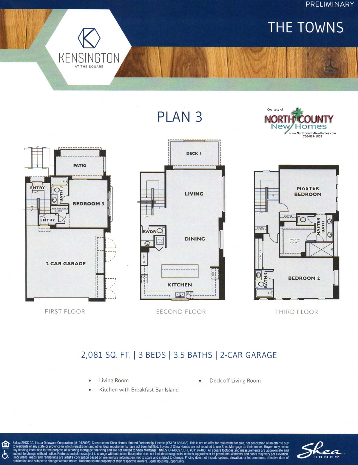 Kensington at The Square floor plans. New townhomes in Carlsbad, California at Bressi Ranch. New construction. 3-story townhomes. Floor Plan 3
