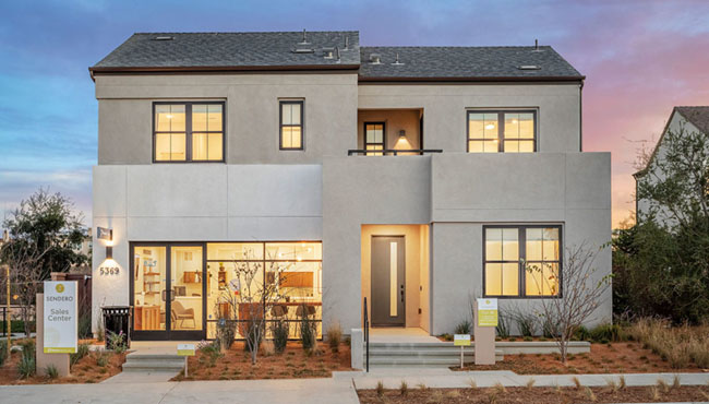 Sendero New homes in San Diego and Pacific Highlands Ranch. New construction homes in North County San Diego. Single family homes for sale in Carmel Valley. Exterior Plan 1