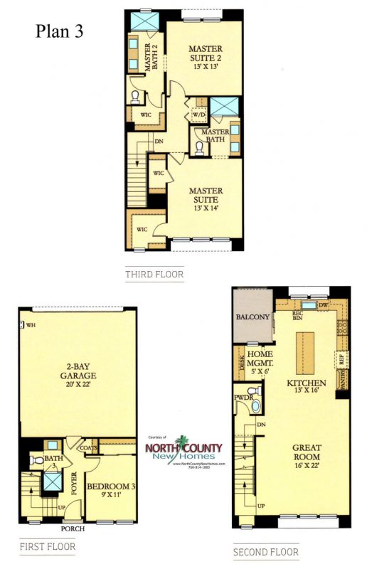 Skye at Del Sur. New homes in Del Sur. New townhomes. New construction homes for sale. Del Sur is in North County San Diego. 3 story townhomes. Floor plans