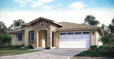 Willow Ridge Estates, New homes in Ramona, CA. North County San Diego. New construction single story homes. Solar. Exterior of plan 2. 17 Single Family Homes
