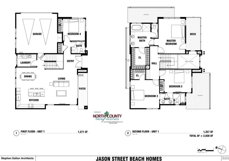 New homes in Leucadia - Encinitas, CA. 4 new single family homes 1 block from the beach. 2 story homes with entry level bedroom and bathroom. New construction homes in North County San Diego. Floor Plan 130