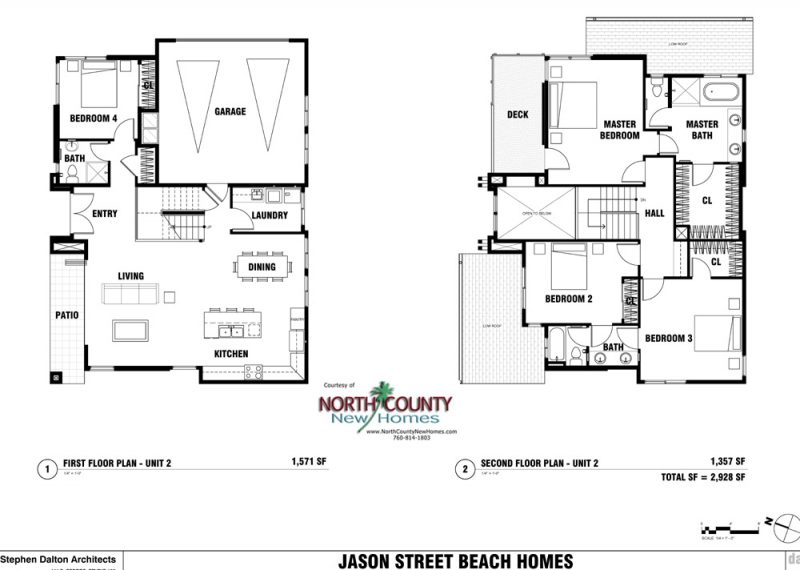 New homes in Leucadia - Encinitas, CA. 4 new single family homes 1 block from the beach. 2 story homes with entry level bedroom and bathroom. New construction homes in North County San Diego. Floor Plan 132