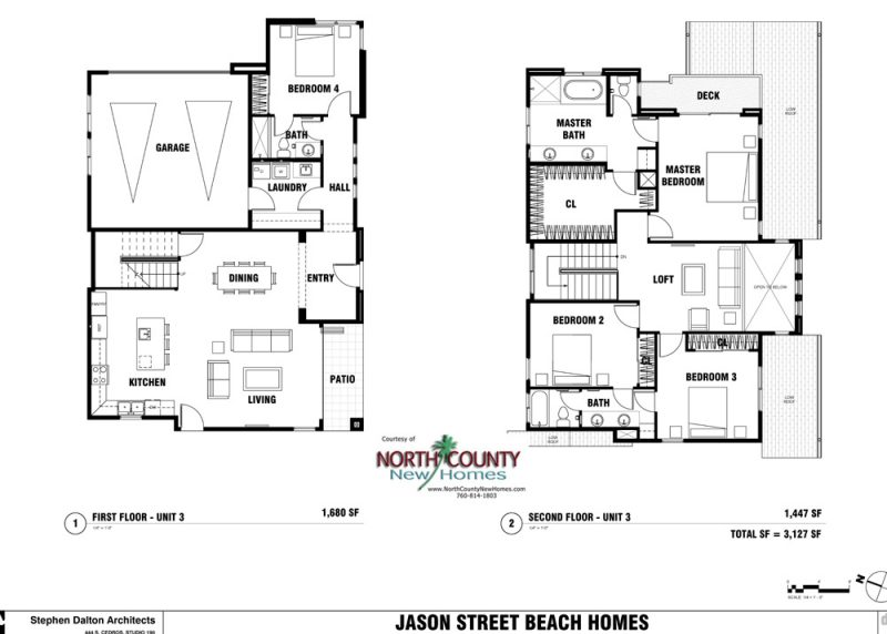 New homes in Leucadia - Encinitas, CA. 4 new single family homes 1 block from the beach. 2 story homes with entry level bedroom and bathroom. New construction homes in North County San Diego. Floor Plan 134