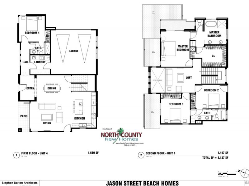 New homes in Leucadia - Encinitas, CA. 4 new single family homes 1 block from the beach. 2 story homes with entry level bedroom and bathroom. New construction homes in North County San Diego. Floor Plan 136